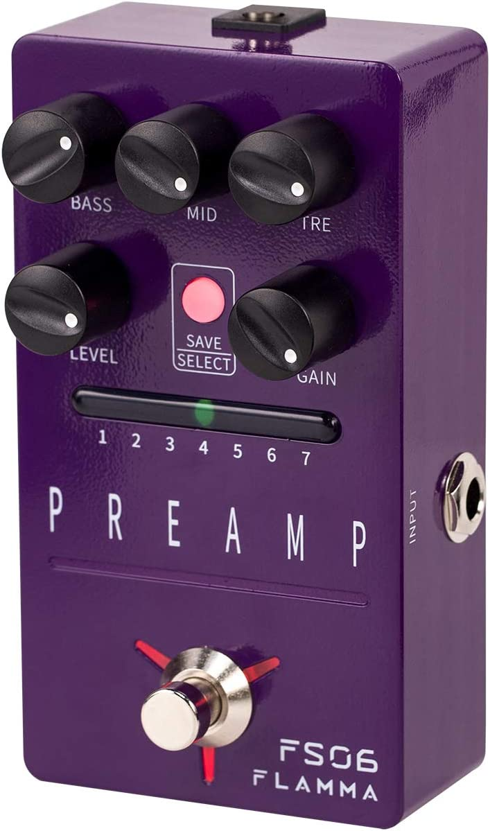 FLAMMA FS06 Digital Preamp Pedal Guitar Pedal with Bulit-in Cabinet Simulation 7 Models Saveable Preset Slots