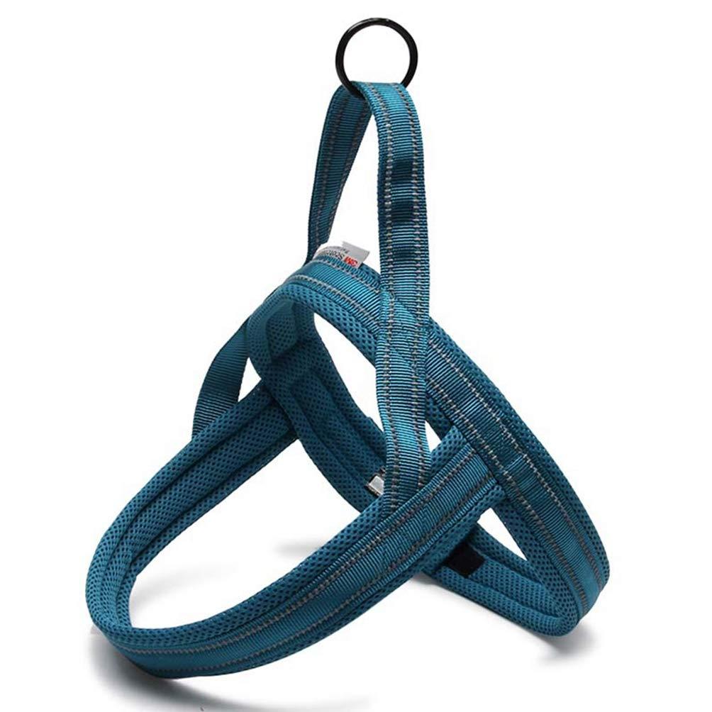 bluee XXXS bluee XXXS Jim Hugh Dog Harness Soft Mesh Padded Nylon Vest Reflective Security Dog Collar Easy Put On Pet Harness Black bluee