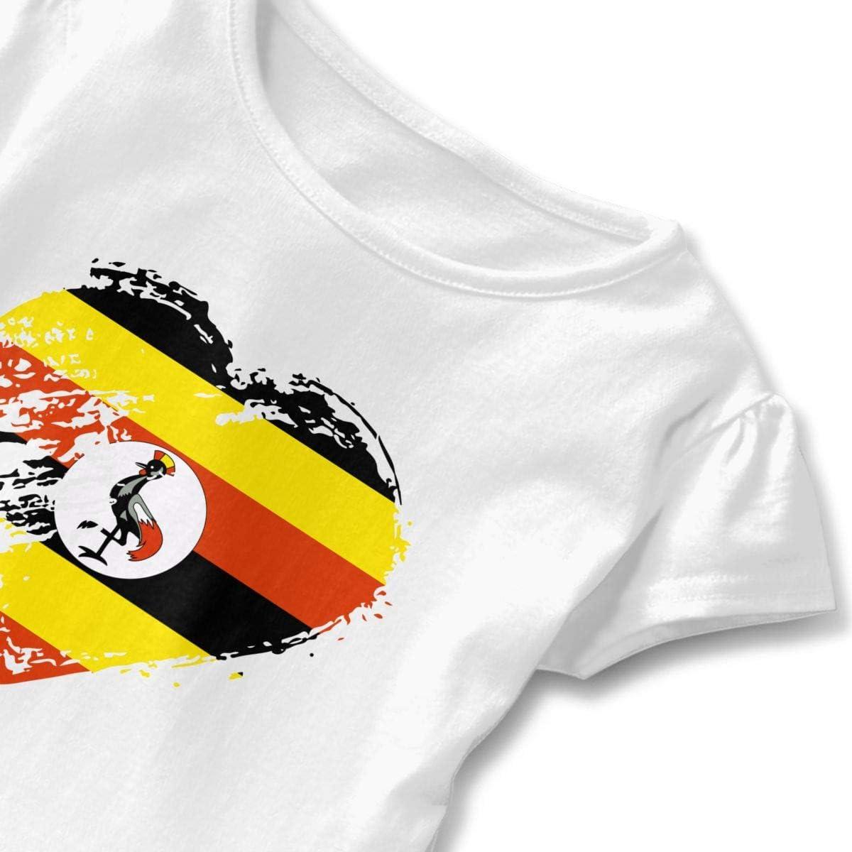 I Love Uganda Heart Flag Girls Short Sleeve Peplum Tee
