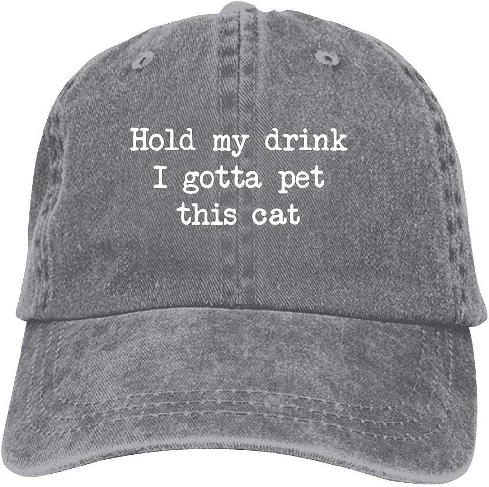 YDYFCA Hold My Drink I Gotta Pet This Cat Cowboy hat Adjustable Baseball Caps Hats for Unisex