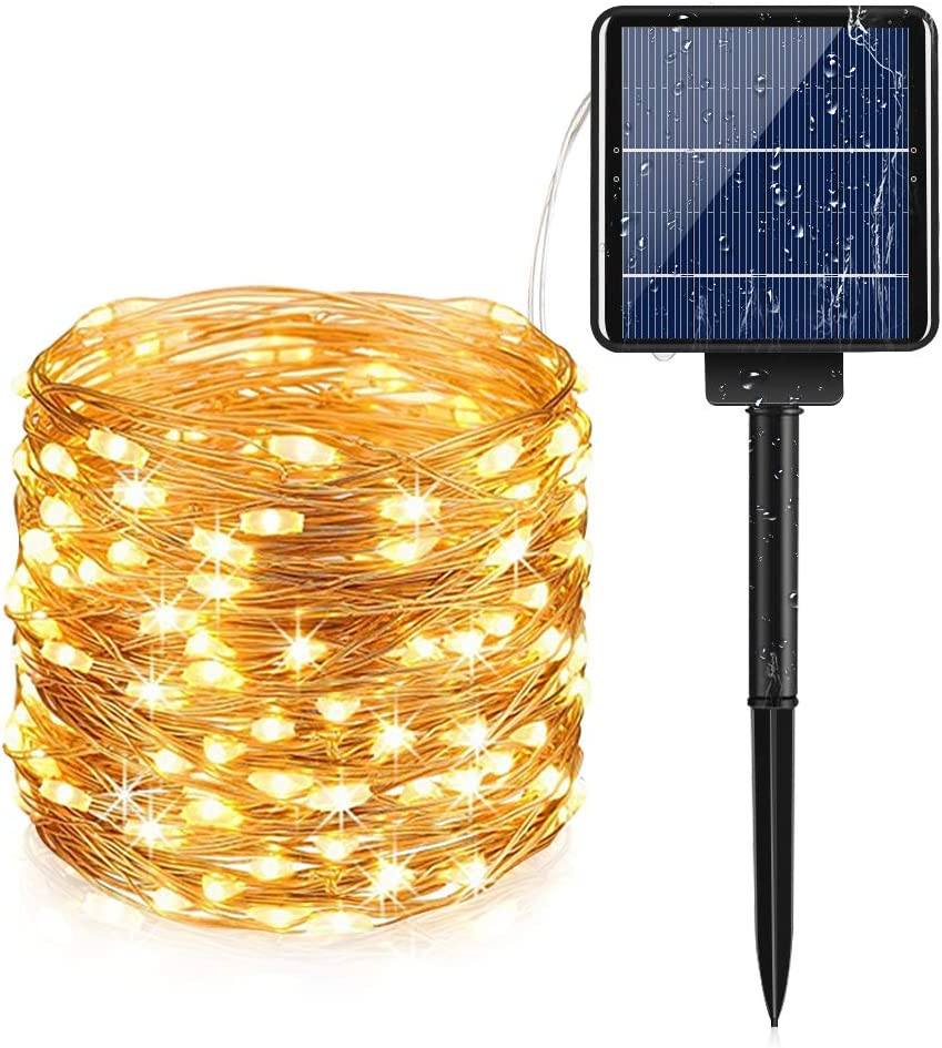 Solar String Lights 300 LED, AUOPLUS 99 FT Solar Powered Fairy Light, 8 Modes Waterproof String Light, Decorative Hanging Lights for Bedroom Outdoor Indoor Garden Backyard Patio Home Christmas