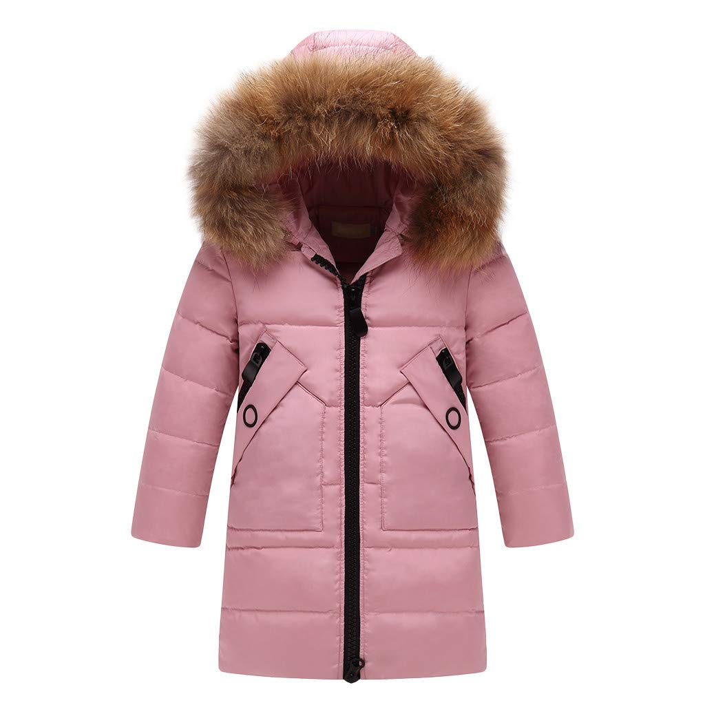 Girls' Kids Winter Long Snowsuit Hooded Down Coat with Soft Faux Fur Warm Thick Puffer Jacket Windbreaker Parka Coat 4-12 Years Old - White Duck Down is 76%~80% (11-12 Years, Pink) by Gallity Baby Coat