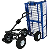 Sunnydaze Steel Dump Utility Garden Cart with Removable Sides, Heavy-Duty 660 Pound Capacity, Blue