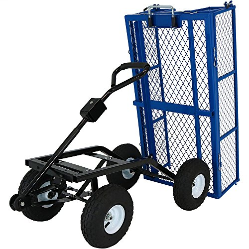 Sunnydaze Steel Dump Utility Garden Cart with Removable Sides, Heavy-Duty 660 Pound Capacity, Blue Lawn Tractor Wagon