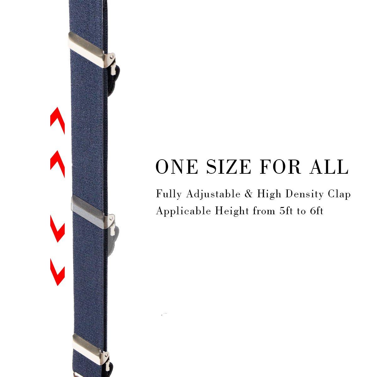 KANGDAI Bretelle Uomo Bretelle per uomo 4 fibbie X dietro a righe Uomo Bretelle durevoli Bretelle regolabili elastiche Clip di metallo forte