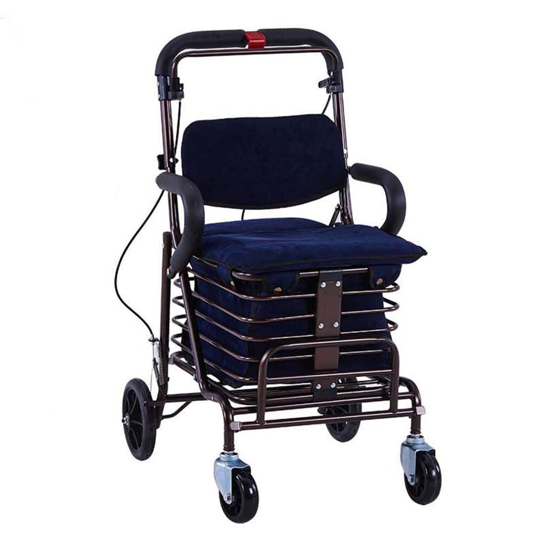 Walking Frame with Wheels Narrow,Lightweight Four Wheeled Rollator with Lockable Brake for Height Adjustment Auxiliary Walking Safety Walker (Size : Blue)