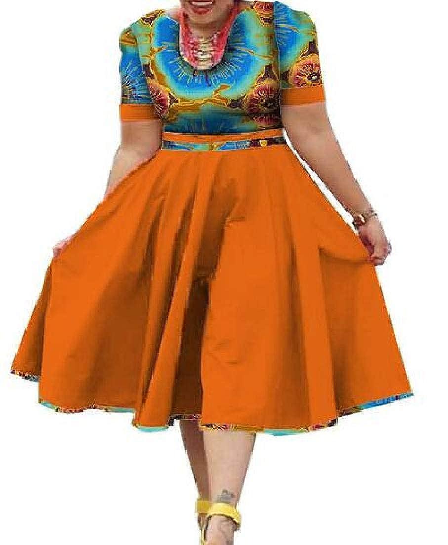 1 KLJR Women Round Neck African Printed Dashiki Short Sleeve ALine Midi Dress