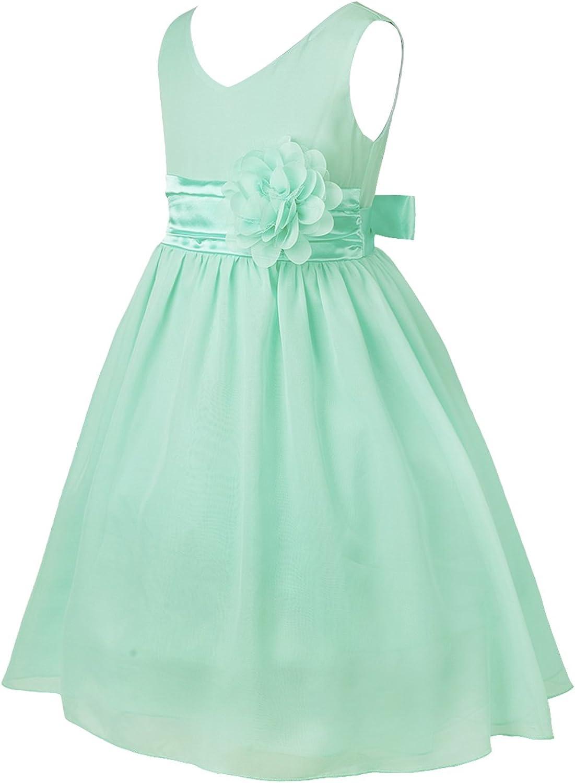 CHICTRY Big Kids Girls V Neck Bow Sash Wedding Bridesmaid Dance Prom Ball Gown Flower Dress