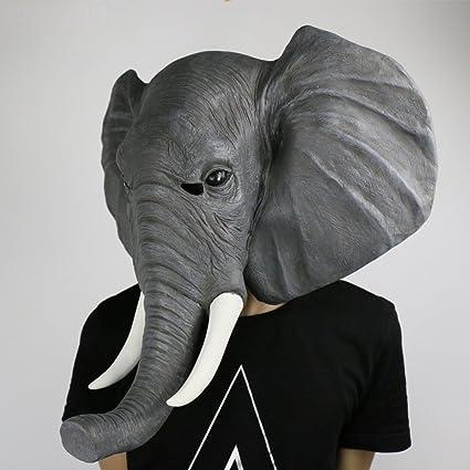 Jack Mall- Elefante máscara tocados tocados Parodia de Halloween máscaras de Animales Gracioso Elefante asiático