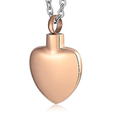 Epinki Collar Urna Acero Inoxidable Oro Rosa Corazón ...