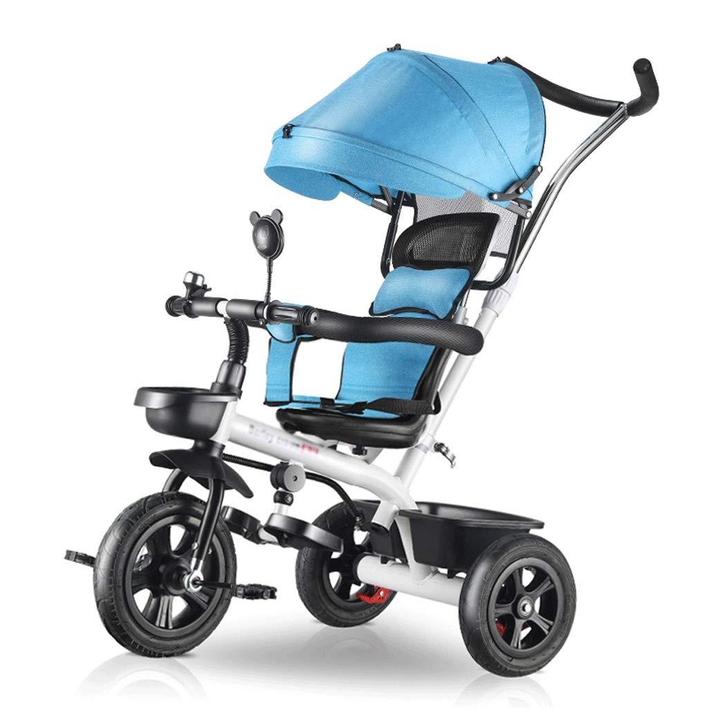 100%のブランドの新しいベビーカー 4-in-1高級ベビーカー、調節可能なオーニングシートベルト折りたたみペダル収納バッグブレーキ衝撃吸収デザイン 旅行する (Color : Blue)  Blue B07T54RWM6