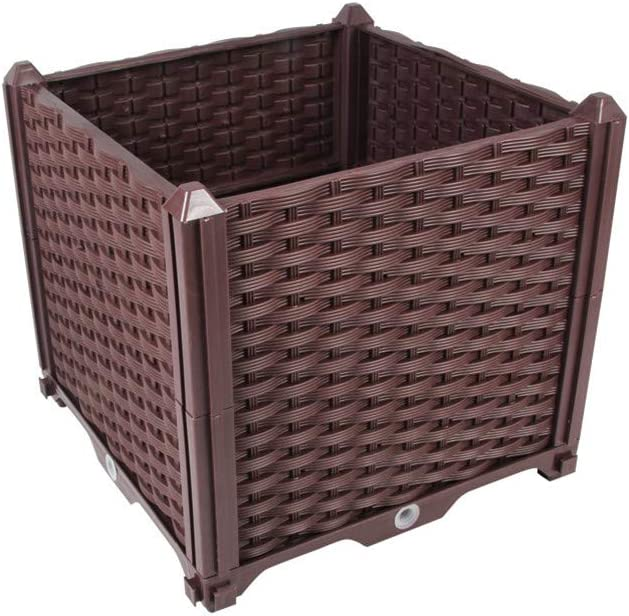 Hershii Square Deepened Garden Raised Bed Kits DIY Plastic Plant Containers Indoor Outdoor Vegetables Herbs Flowers Growing Planter Box - Brown - 15.35 X 15.35 X 14.96 Inches