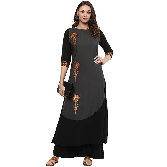Ziyaa women's Grey Colour Flared Crepe Kurta & Palazzo Set Women's Salwar Suits at amazon