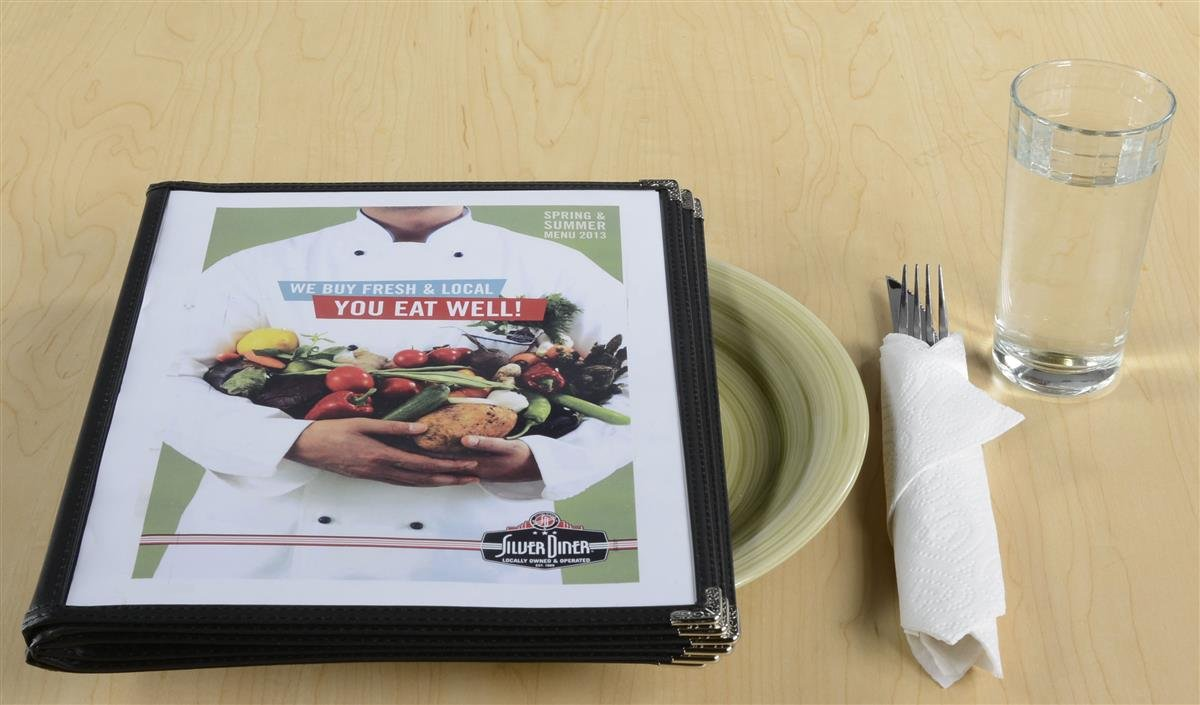 Set of 10, 6-Page Restaurant Menu Covers for 8.5'' x 11'' Sheets, Black Synthetic Leather Trim with Metal Corners by Displays2go (Image #2)