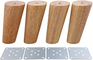Pack of 4 Wood Furniture Parts Sofa Legs Oblique Tapered Wooden Furniture Legs 12cm Solid Wood Color