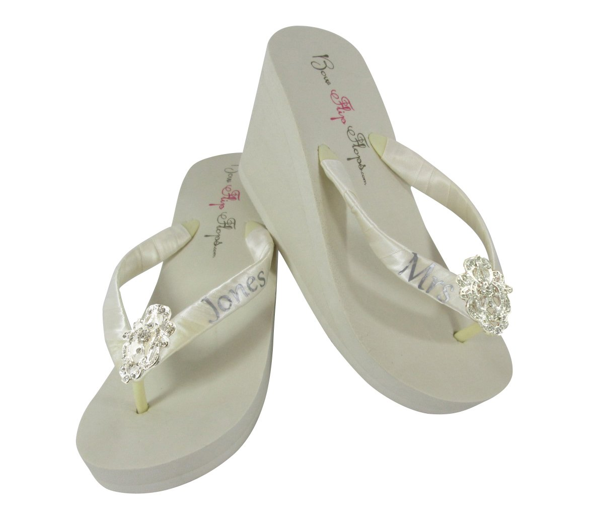 2636a5e937bcc Amazon.com: Blue and Lace Satin 2 inch wedge flip flops for Wedding ...