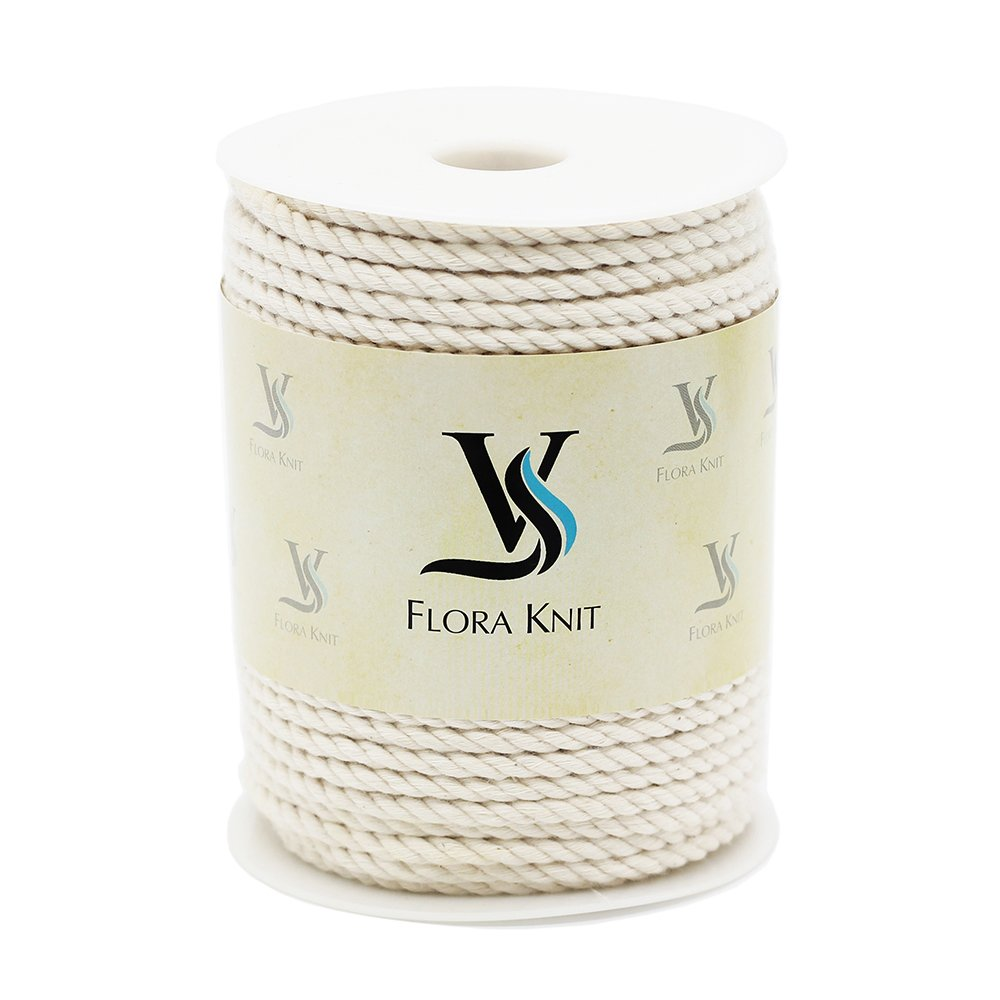 Natural Cotton Macrame Cord Rope - 4mm 1/6inch 110 Yards for Plant Hanger Craft Wall Hanging Handmade DIY (Not Recycle Material) (4mm-110Yards) FLORAVOGUE NC-4MM-100M-Raw