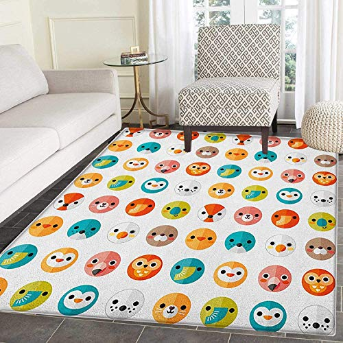 (Nursery Rugs for Bedroom Various Animals in Logo Style Minimalist Art Design Seal Elephant Bear Fox Seagull Circle Rugs for Living Room 2'x3' Multicolor )