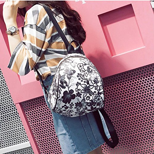 Travel Schoolbag Black Canvas Backpack Embroidery Allywit Women Bags Vintage Ethnic Flower x4n0qntzvw