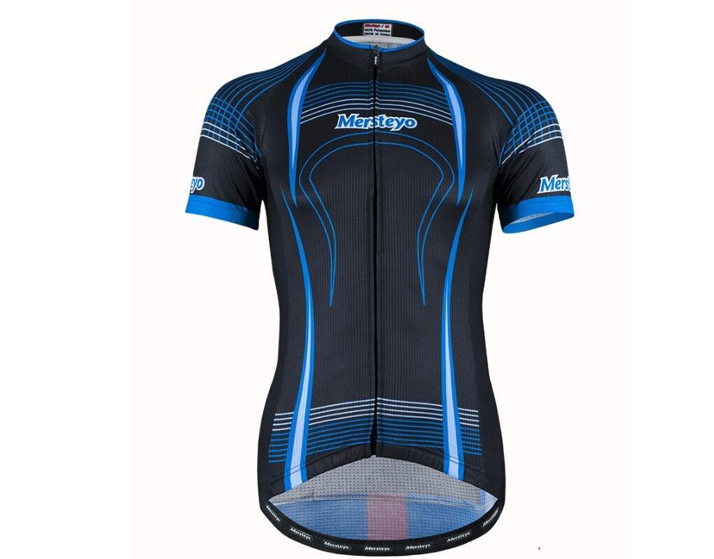 DUBAOBAO Mersteyo Herren Kurzes Ärmel-Bike-Set Road Bike Outdoor-Sportbekleidung Kurzärmel-Reitset + 3D Gepolsterte Shorts (Blau)