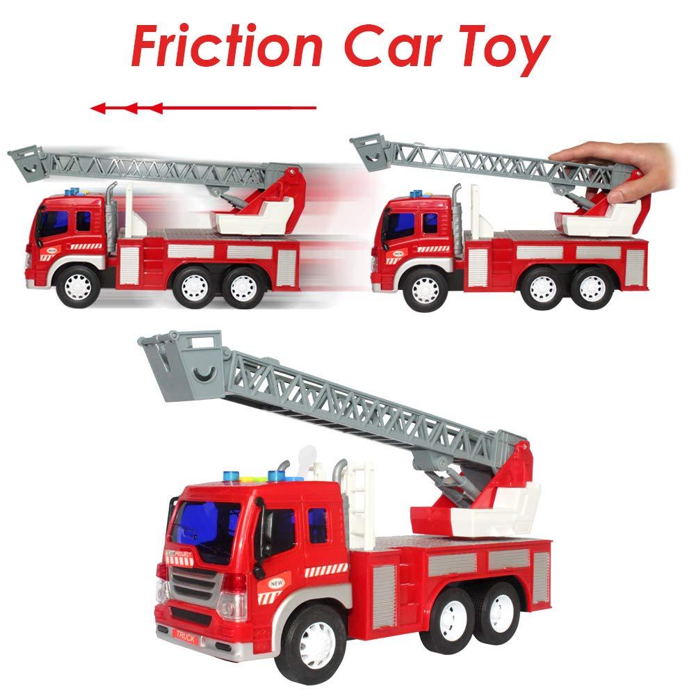 HERSITY Camion dei Pompieri con Scala Allungabile Luci e Suoni Macchinine Giocattolo Prima Infanzia Giochi per Bambina