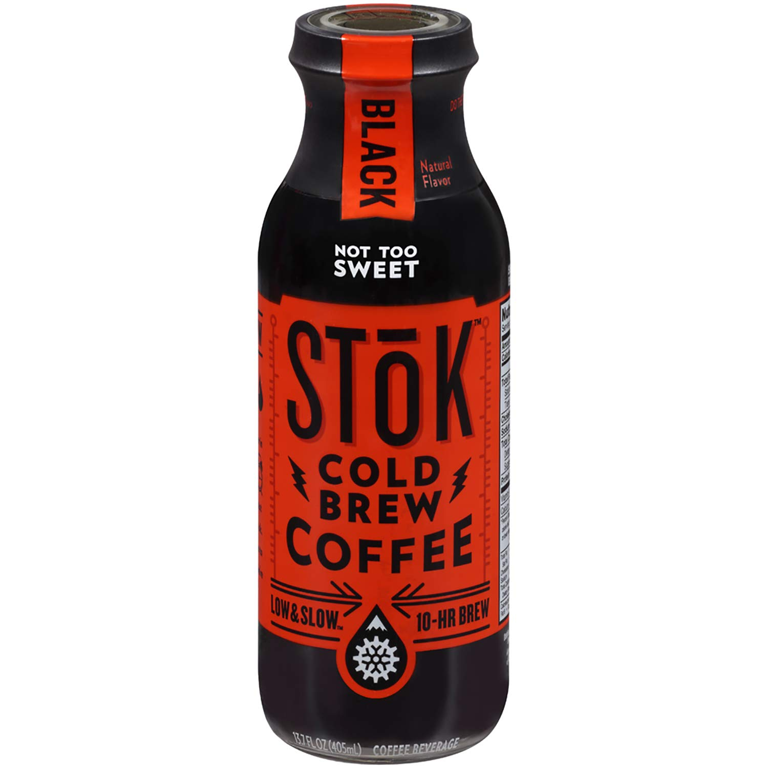 SToK Cold-Brew Iced Coffee, Black Not Too Sweet, 13.7 Ounce Bottle , 10-Hour Brew Cold-Brew Arabica-Based Coffee, Lightly Sweetened, Ready-to-Drink Coffee to Pour over Ice or Drink Hot by SToK