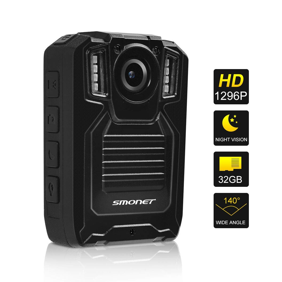 SMONET 1296P Body Camera with Audio, Multifunctional Police Body Cameras for Law Enforcement,Security Guard Body Camera,Waterproof Body Worn Camera with Night Vision,2 Inch Display Video(32GB) by SMONET