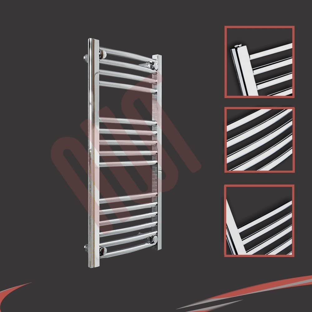 Curved Chrome Electric Heated Towel Rail Radiator Warmer h Supplied with 150 Watt Electric Heating Element 400mm w x 800mm