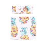 Baby Sleep Swaddle Blanket Large and Bow Headband Set Pineapple