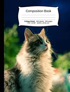 """Cat Composition Notebook, College Ruled: Composition Notebook, Lined Student Writing Journal, Exercise Book, 200 pages, 7.44"""" x 9.69"""" (Cat Series)"""
