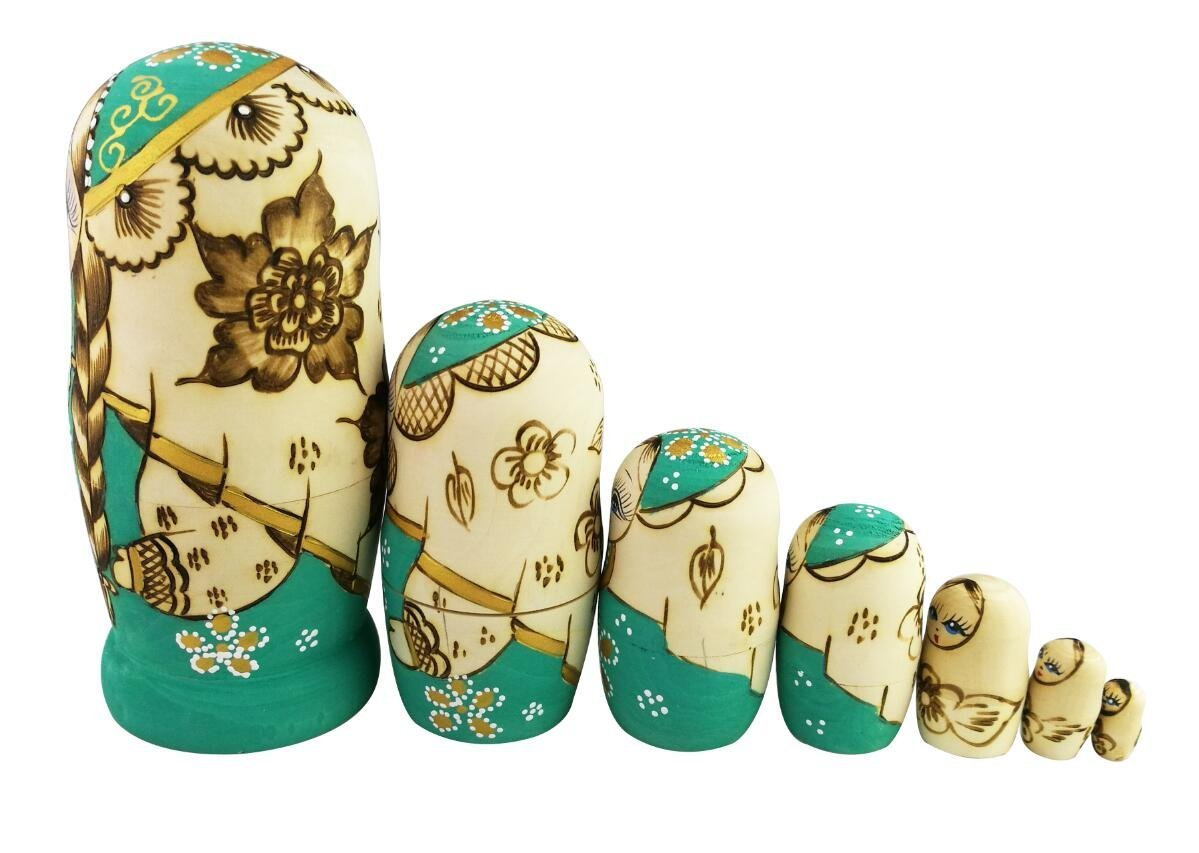 Winterworm Cute Little Girl With Big Braid Handmade Matryoshka Wishing Dolls Mother's Day Gifts Russian Nesting Dolls Set 7 Pieces Wooden Kids Gifts Toy Home Decoration Green by Winterworm (Image #3)