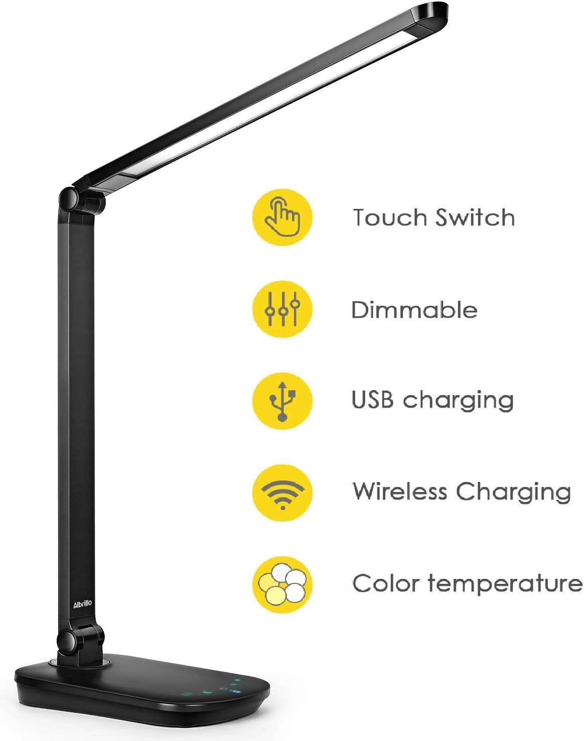 Albrillo Lámpara Escritorio LED con Base de Carga Inalámbrica y Puerto USB, Lámpara de Mesa Plegable 8 W, Regulable con 5 Temperaturas de Color y Brillo Continuo, para Estudiar, Leer y Cuidado de Ojos