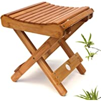 Bamboo Folding Step Stool for Toddlers Adults - Portable Small Foot Stool Upgrade - Kitchen Bathroom Bedroom