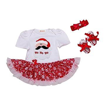 60ac8f77460d7 1er Ensemble Noël Bébé Fille Barboteuse + Bandeaux + Chaussures 3pcs  Vêtements Enfant 6-12