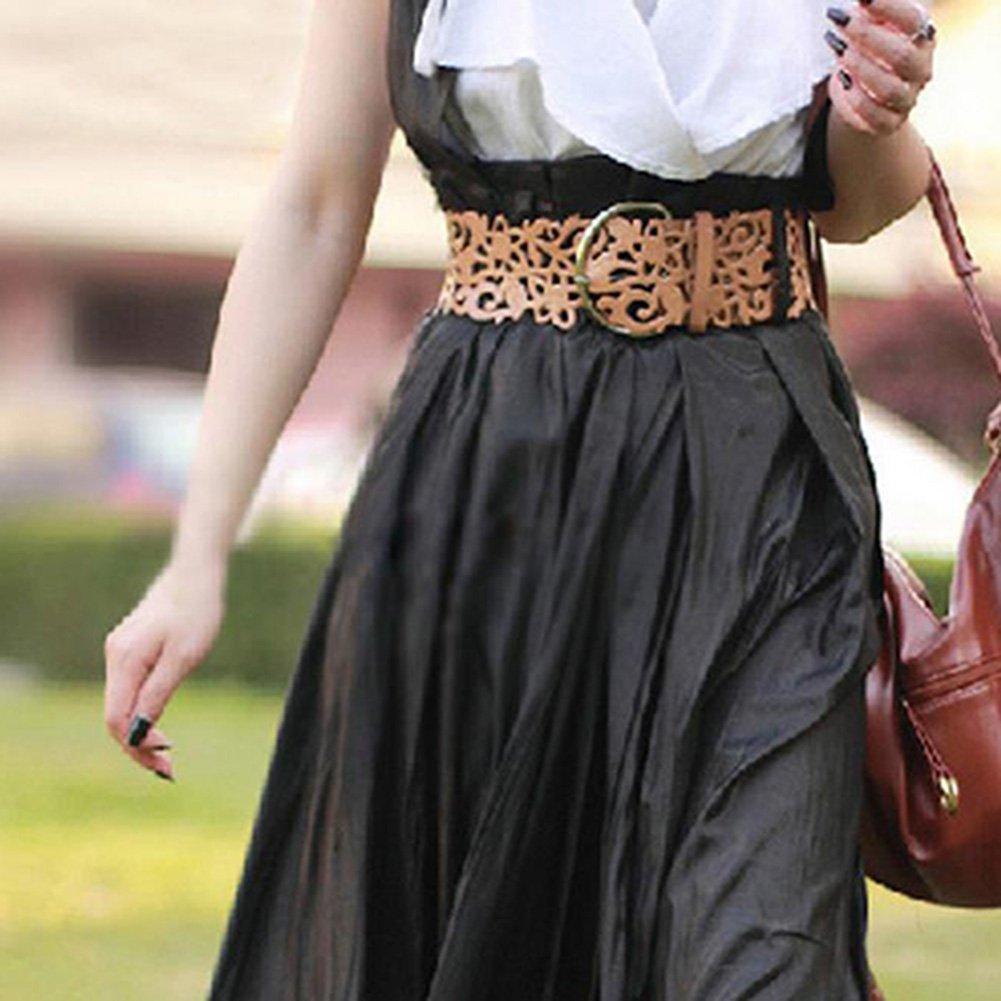 99cad60da6c2fb Nikgic Damen Breit Hohl Gürtel Ledergürtel Taille Gürtel mit Schnalle  Hueftgurt aus PU Leder Golden: Amazon.de: Sport & Freizeit