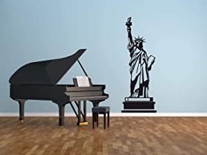 CustomVinylDecor Patriotic Decor | Statue of Liberty Wall Decal | Removable Peel and Stick Vinyl Mural for Home, Office | Small, Large Sizes | Black, White, Gray, Gold, Silver, Red, Blue, Other Colors