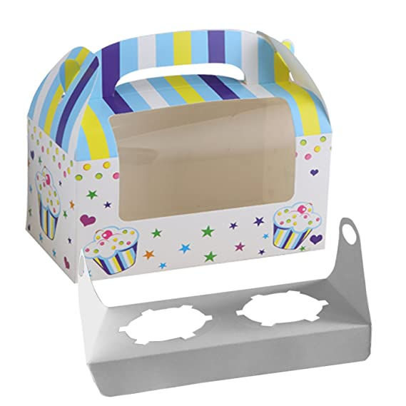 16 Cajas para Transportar 2 Magdalenas Decoradas, con Ventana y Asa para Decoracion de Boda Cake de Caja Plegable Diseño Niño Color Azul: Amazon.es: ...
