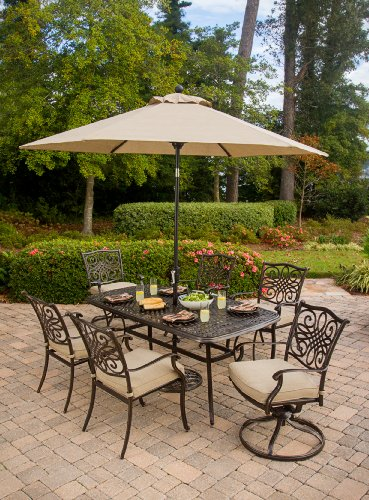 Hanover TRADITIONS7PCSW-SU Furniture 7 Piece Traditions Deep Cushioned Umbrella Outdoor Patio Dining Set, Tan (Home Patio Dining Set Depot)