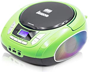 Lauson NXT564 Boombox with Cd Player Mp3 | Portable Radio CD-Player Stereo with USB | Cd Player for Kids | LED Light Function | Headphone Jack 3.5mm (Green)
