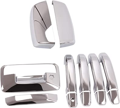 For SILVERADO SIERRA 2007-2013 Chrome Covers Towing Mirrors+4 Doors w//o+Tailgate