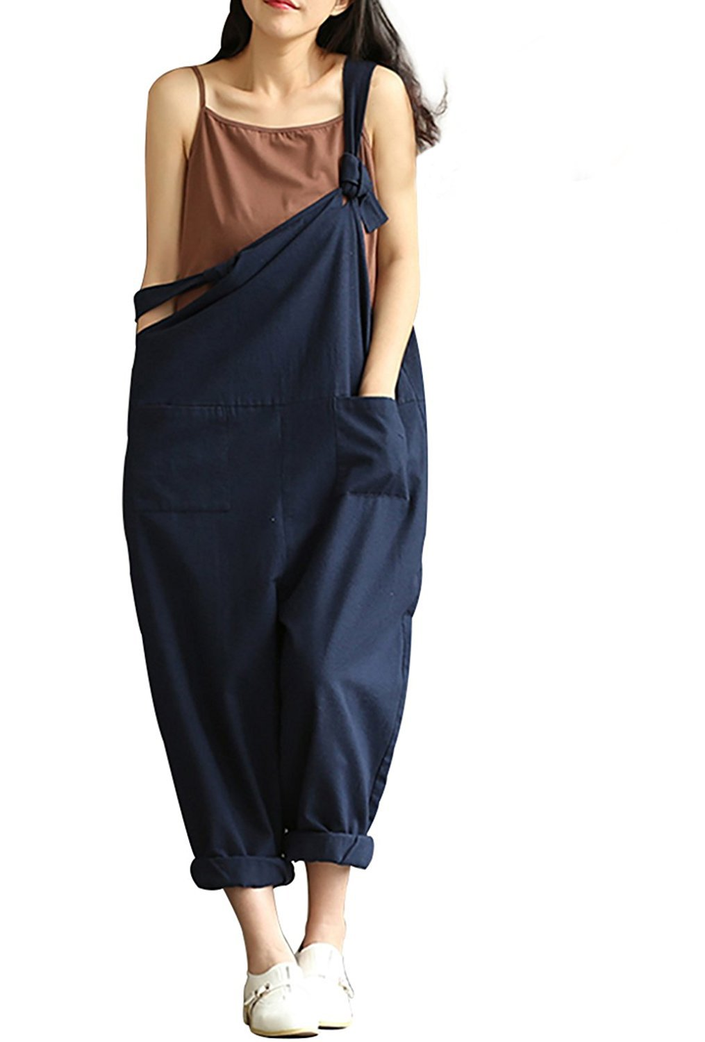 1ff4a23bf60 Aedvoouer Women s Casual Jumpsuits Overalls Baggy Bib Pants Plus Size Wide  Leg Rompers(S