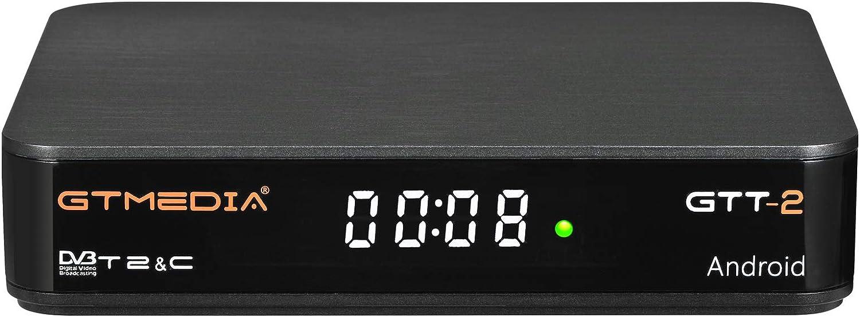 GT MEDIA GTT-2 Decodificador TDT Android 6.0 TV Box 4K Digital Receptor Terrestre DVB-T/T2 Smart TV Box Amlogic S905D Quad-Core 2GB+8GB 3D H.265 MPEG-2/4 WIFI 2.4Ghz Soporte Netflix YouTube CCcam