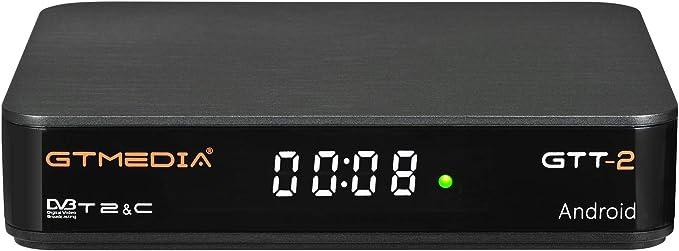 GT MEDIA GTT-2 Decodificador TDT Android 6.0 TV Box 4K Digital Receptor Terrestre DVB-T/T2 Smart TV Box Amlogic S905D Quad-Core 2GB+8GB 3D H.265 MPEG-2/4 WIFI 2.4Ghz Soporte Netflix YouTube CCcam: Amazon.es: Electrónica
