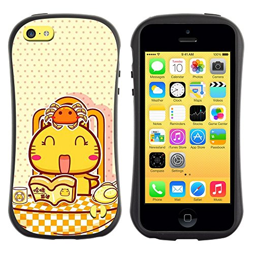 All-Round Hybrid Rubber Case Hard Cover Protective Accessory Gerneration-I Compatible with Apple iPhone 5C - Cute Happy Cat Breakfast