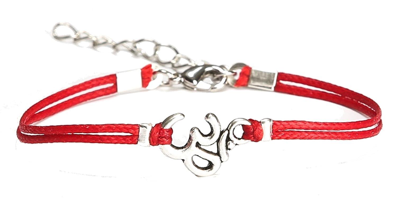OM bracelet, women bracelet with Tibetan silver Om charm, Hindu symbol, red cord, gift for her, yoga bracelet, lucky charm, chakra jewelry Shani & Adi Jewelry