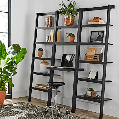 Mainstays Sumpter Park Ladder Bookcase Home and Office Desk (Solid Black)