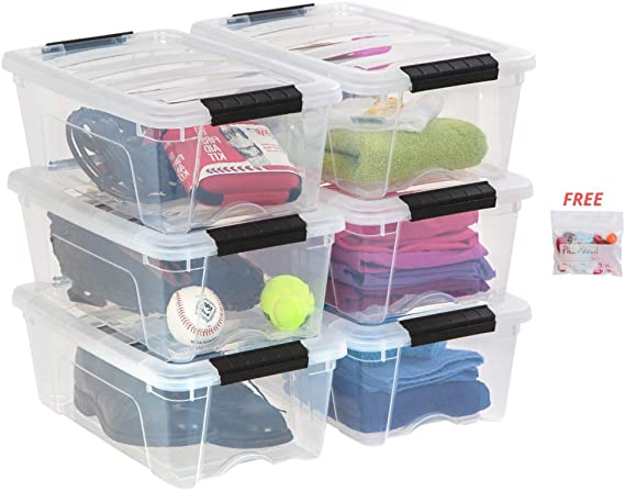 IRIS USA 12 Quart Buckle Up Storage Bin with Disposable Pouch