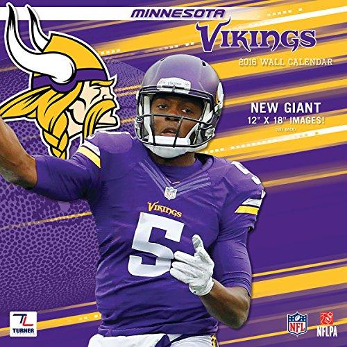 """Turner Minnesota Vikings 2016 Team Wall Calendar, September 2015 - December 2016, 12 x 12"""" (8011916)"""