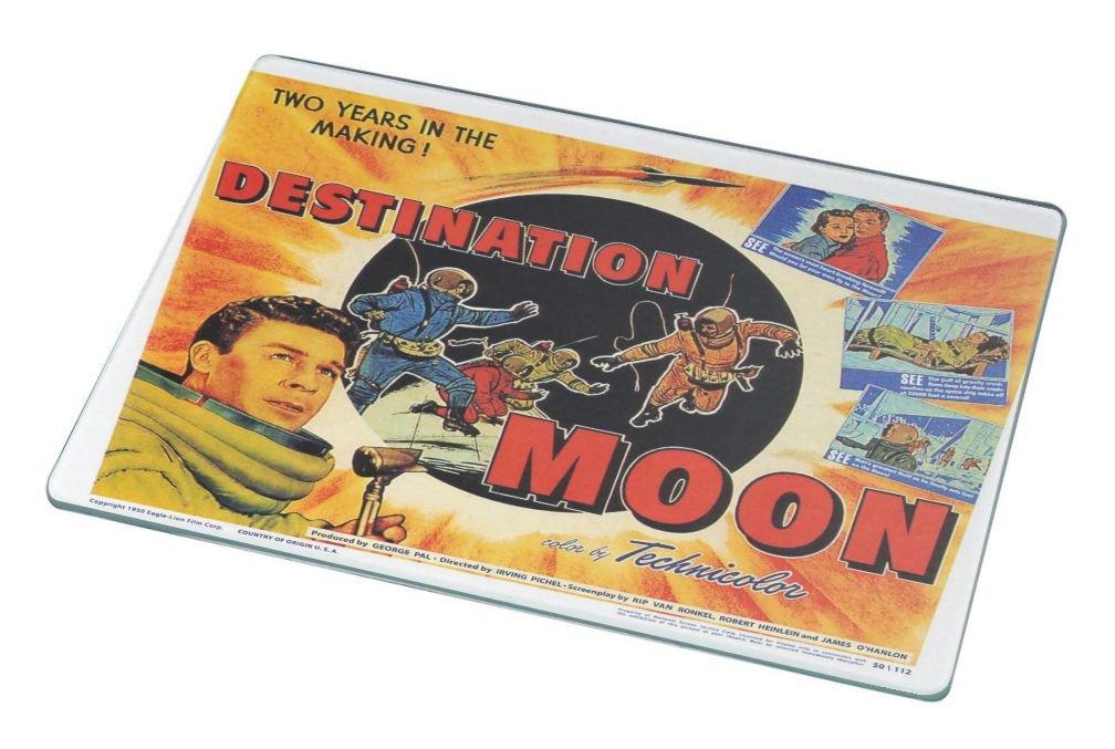 Rikki Knight RK-LGCB-3705 Vintage Movie Posters Art Destination Moon 2 Glass Cutting Board, Large, White