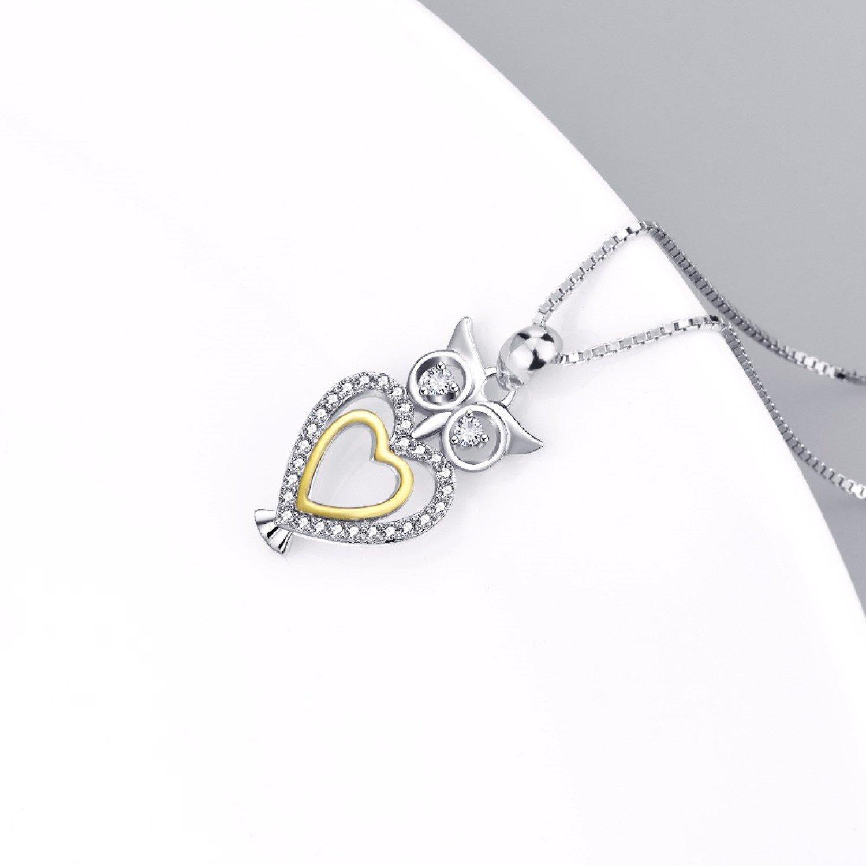 CS-DB Lovely Cute Owl Love Heart Pendants Silver Necklaces